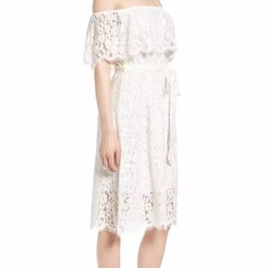 New sienna Bardot lace crochet off shoulder Belted